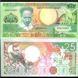 1988 Suriname 25 Gulden Crisp Uncirculated Note (COI-3968)