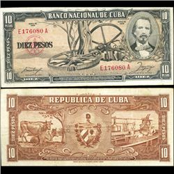 1958 Cuba 10 Peso Note Crisp Circulated (CUR-06372A)