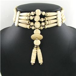 Handcraft Amer Indian Bone Choker Necklace (JEW-3166)