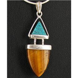 25twc Tiger Eye & Turquoise Pendant w/Sterling (JEW-1731)