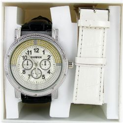 New Ice Time Mens Diamond Bezel Chrono Style Watch (WAT-345)
