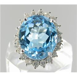 12.2ct Sky Blue Topaz & Diamond 14k Ladies Ring (JEW-1772)