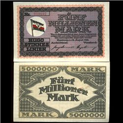 1923 Germany 5m Mark Pvt Steamship Note Crisp Unc (COI-3938)