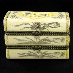 Chinese Handcarved Bone Double Gem Box (CLB-852)