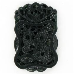 Chinese Handcarved Vintage Black Jade Dragon (ANT-1875)