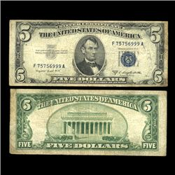 1953B $5 Silver Certificate Note Circulated Scarce (COI-4729)
