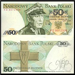 1986 Poland 50 Zlotych Crisp Unc Note (CUR-06151)