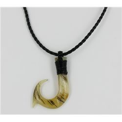 White Buffalo Horn Hawaii Fishhook Pendant Choker (JEW-1410)
