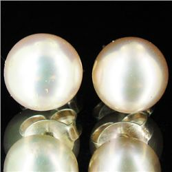 Peach Pearl Stud Earrings (JEW-1826)