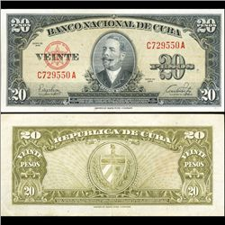 1949 Cuba 20 Peso Note Crisp Circulated (CUR-06373A)