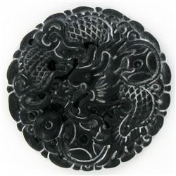 Chinese Handcarved Vintage Black Jade Dragon (ANT-1876)