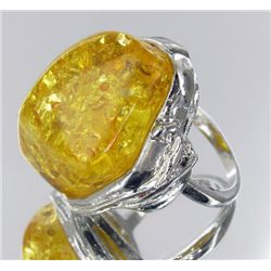 87ct Baltic Amber White Gold Vermeil Ring (JEW-1783)