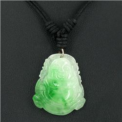 45ct Green Jade Buddha Pendant Necklace (JEW-3585)