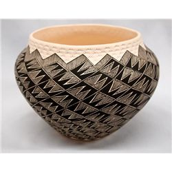 Acoma Eye Dazzler Pottery Bowl by S G Rustin