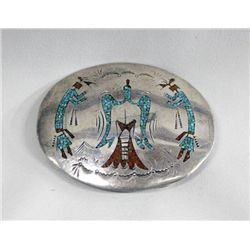 Navajo Silver Chip Inlay Belt Buckle By B Becenti