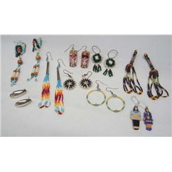 Nine Pair Native American Pierced Earrings