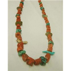 Vintage Coral Turquoise Fetish Necklace