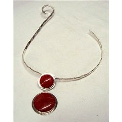 Sterling Neck Bracelet with Coral Pendant