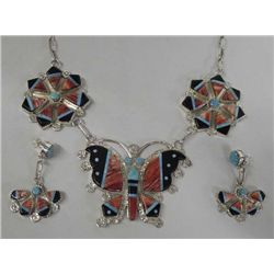 Zuni Butterfly Necklace & Earrings by E. Martinez