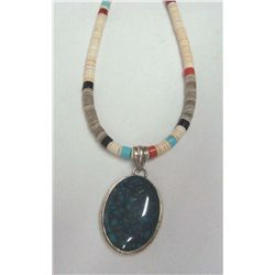 Heishi Bead Necklace with Turquoise Pendant