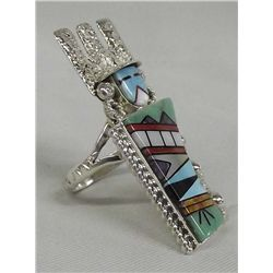 Navajo Beavis Tsadiasie Sterling Kachina Ring