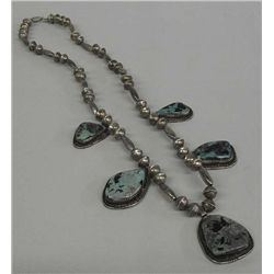 Navajo Silver Bead Turquoise Pendant Necklace
