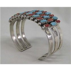 Turquoise Coral Bracelet-Triple Band