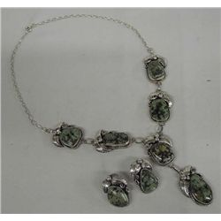 Green Turquoise Silver Necklace & Earrings