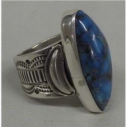 Navajo Sterling Silver Turquoise Ring by A Sanchez