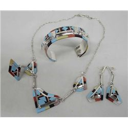 Zuni Silver Multi Stone Jewelry Set by O Panteah