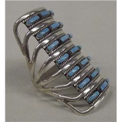 Zuni Sterling Turquoise Ring by C. Johnson