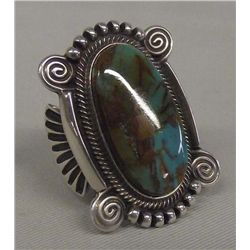 Navajo Sterling Turquoise Ring Hallmark TH