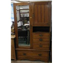 An Edwardian satin-walnut compactum
