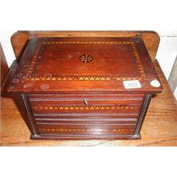 A C19th rosewood small inlaid two drawer cabinet
