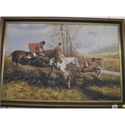A framed oil on canvas hunting scene picture signed D Long