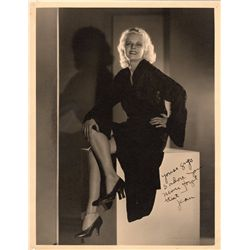 Jean Harlow rare oversize photograph signed