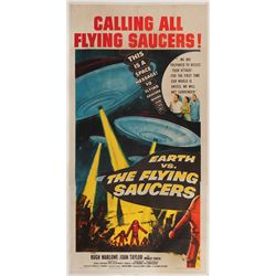Earth vs. the Flying Saucers original U.S. 3-sheet poster on linen