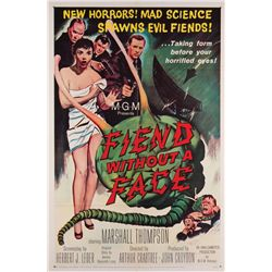Pair of 1950's Science-Fiction 1-sheet posters: Fiend Without a Face and The Thing (R'54)