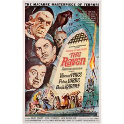 1960's Horror  9  posters for films with Boris Karloff, Vincent Price, Jack Nicholson, & others