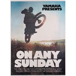 On Any Sunday original U.S. one-sheet poster, Yamaha Motorcycles promotion style, on linen
