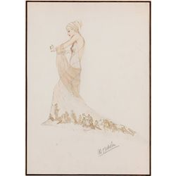 Al Nickels sketch of Gloria Stuart from Roman Scandals