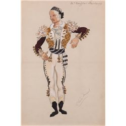 Oliver Messel costume sketch for Douglas Fairbanks, Sr. from The Private Life of Don Juan