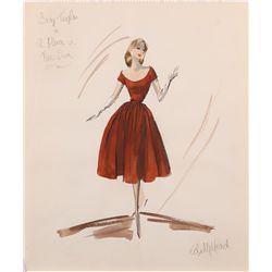 Edith Head costume sketch for Elizabeth Taylor from A Place in the Sun