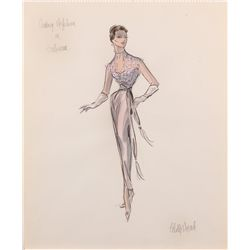 Edith Head costume sketch for Audrey Hepburn from Sabrina