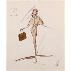 Edith Head costume sketch for Grace Kelly from Alfred Hitchcock's Rear Window