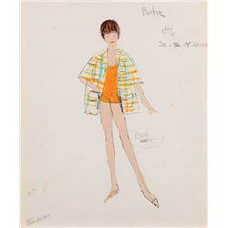 Edith Head sketch of Shirley MacLaine from Artists and Models