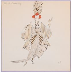Raoul Pene Du Bois costume sketch for Carol Channing in The Vamp