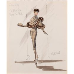 Edith Head costume design sketch for Doris Day from Alfed Hitchcock's The Man Who Knew Too Much
