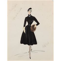 Edith Head costume design sketch for Marlene Dietrich from Witness for the Prosecution