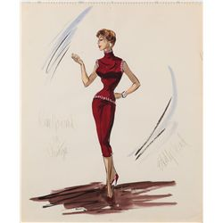 Edith Head costume design sketch for Kim Novak from Vertigo
